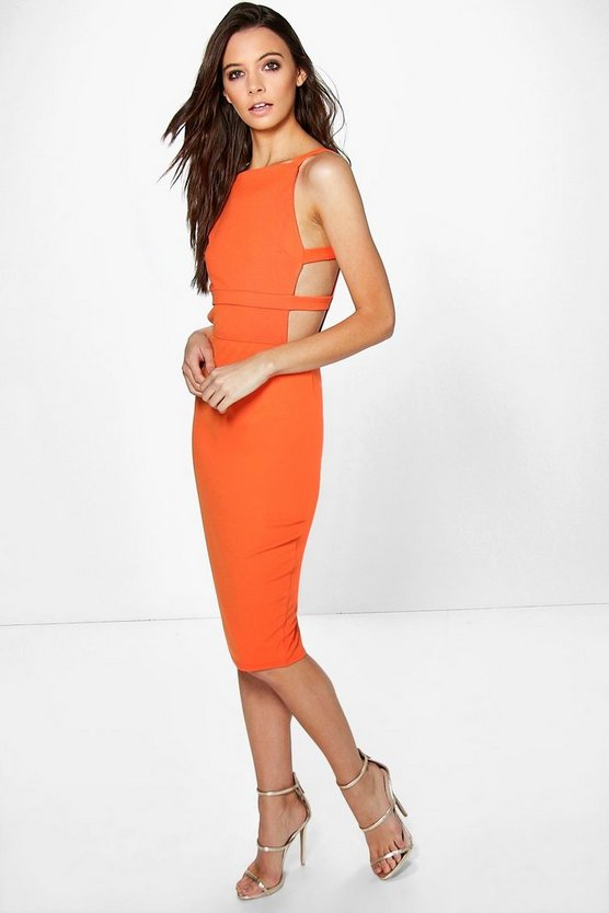 Alexis Square Neck Strap Waist Midi Dress