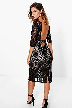 Elisa Low Back Lace Midi Dress