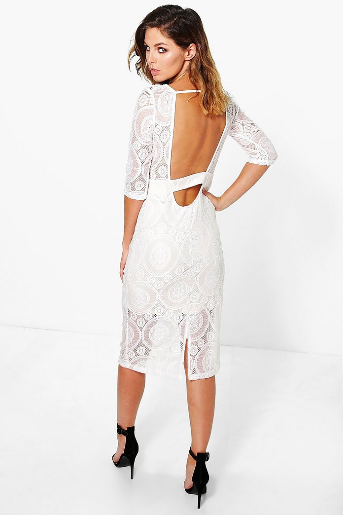 Elisa Low Back Lace Midi Dress