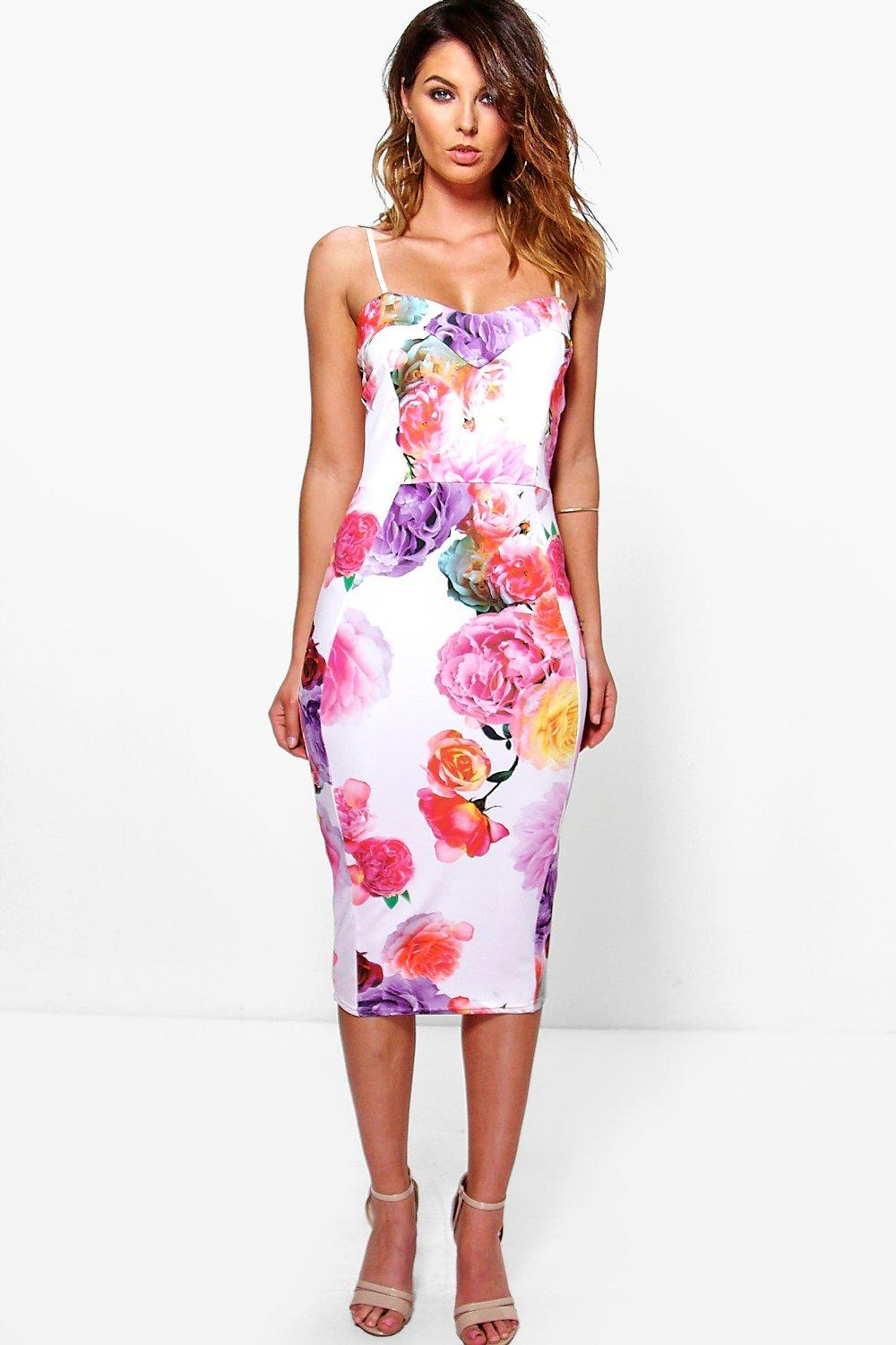 Edie Floral Sweetheart Midi Bodycon Dress
