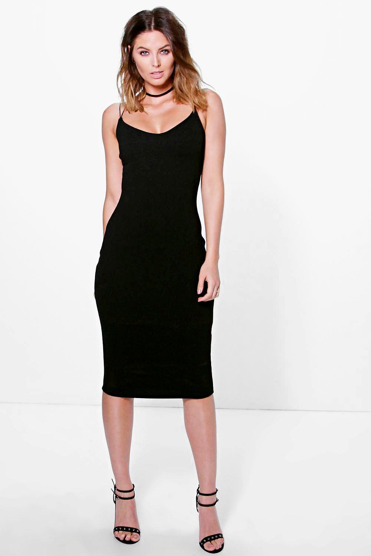 Strappy Textured Midi Boydcon Dress black