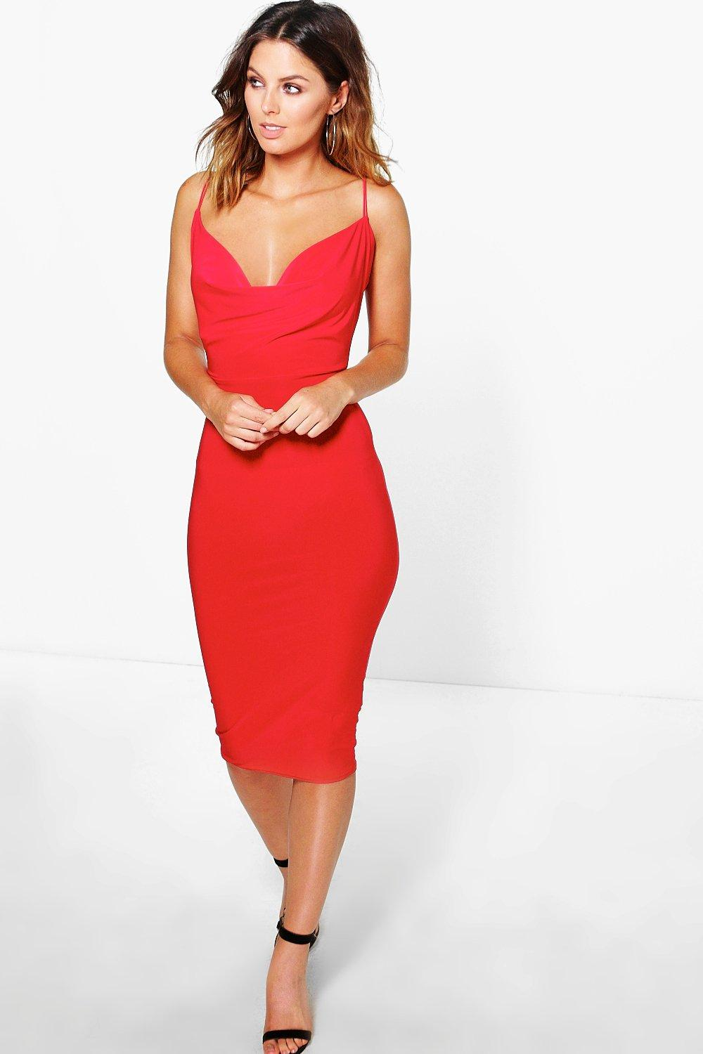 Luce Extreme Cowl Slinky Midi Dress