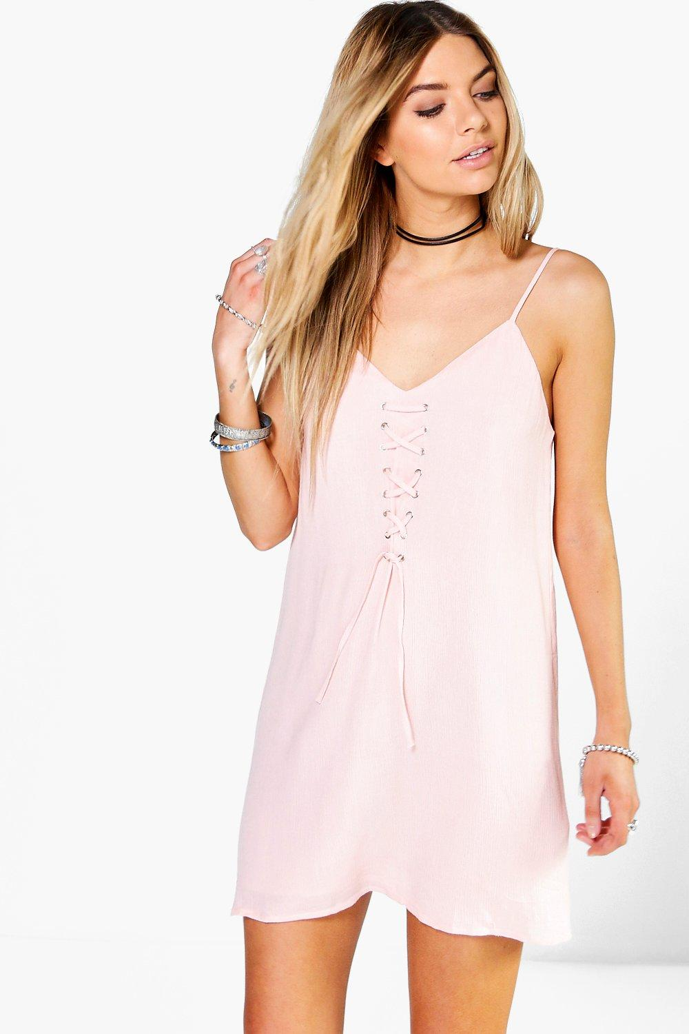 Juliet Lace Up Front Strappy Slip Dress