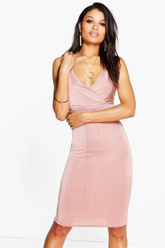 Elsa Textured Slinky Plunge Neck Midi Dress