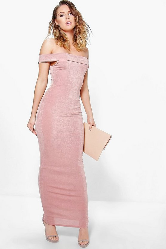 Arbella Textured Slinky Off The Shoulder Maxi Dress