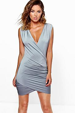 Mimi Slinky Rib Wrap Front Sleeveless Bodycon Dress