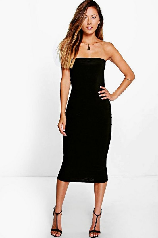 Thalia Slinky Bandeau Midi Bodycon Dress