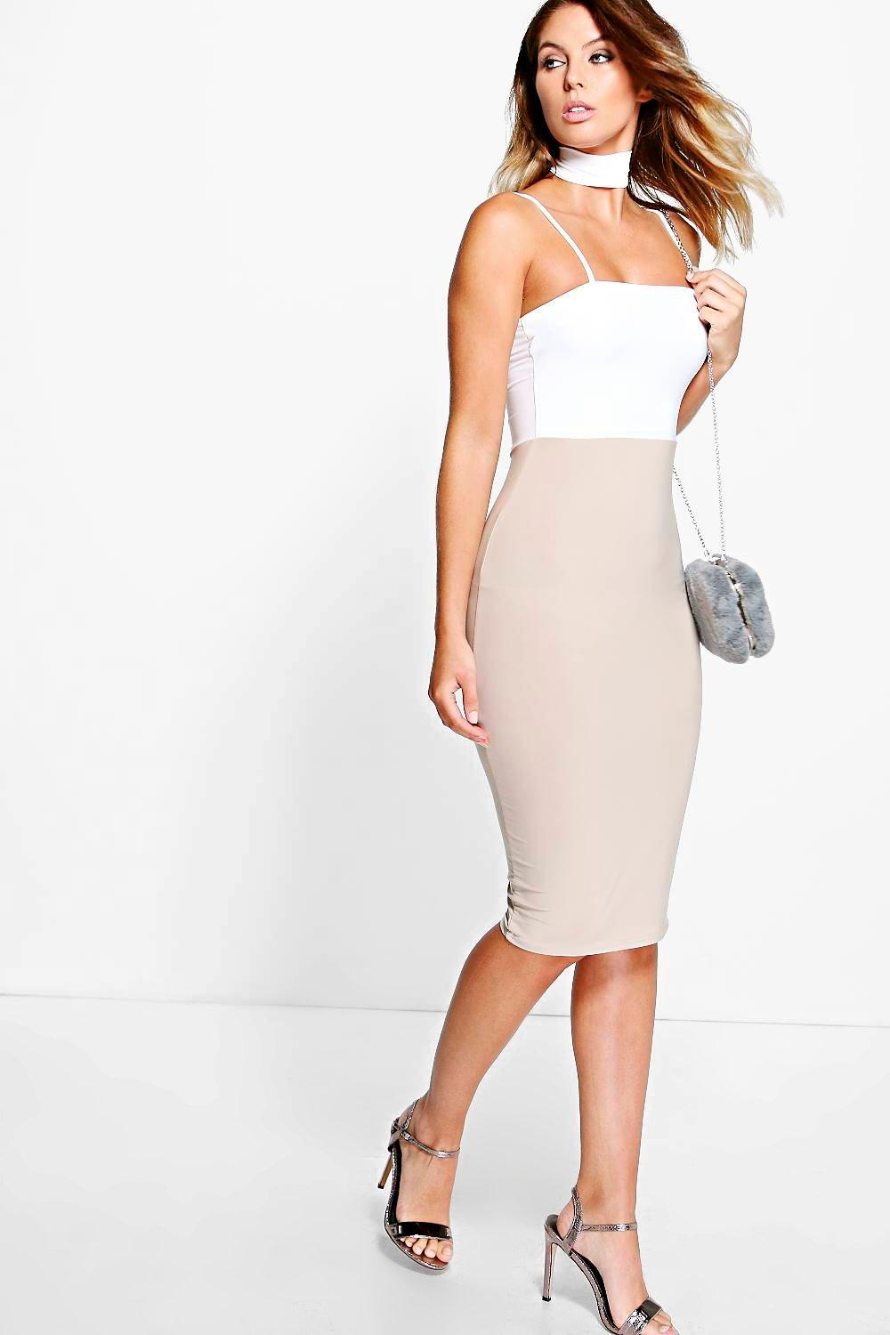 Cordelia Choker Contrast Colour Midi Dress
