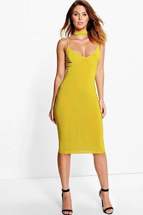 Lorelei Choker Plunge Neck Midi Dress