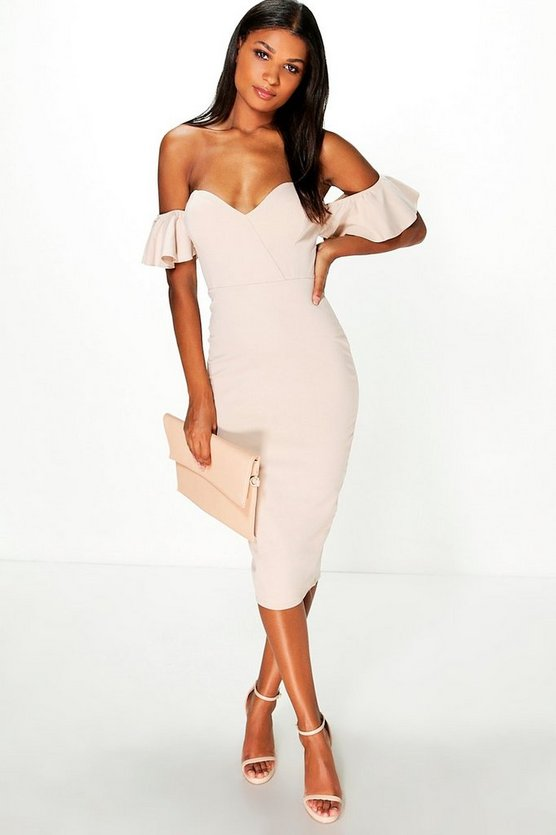 Rosella Frill Sleeve Sweetheart Midi Dress