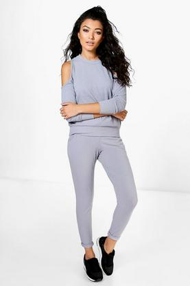 Bella Cold Shoulder Rib Knitted Loungewear Set