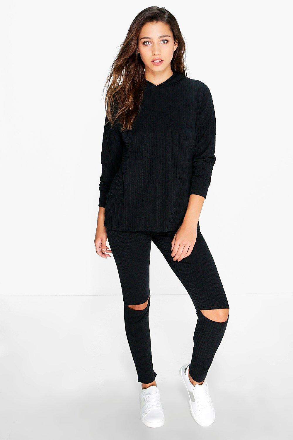 Paige Slit Knee & Hoody Rib Knitted Loungewear Set