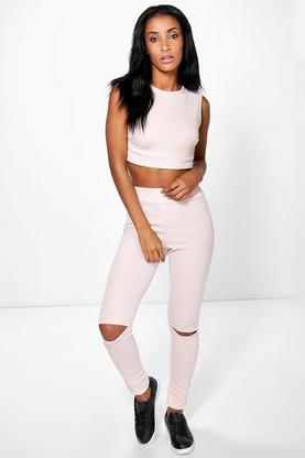 Sara Slit Knee Stretch Knitted Loungewear Set