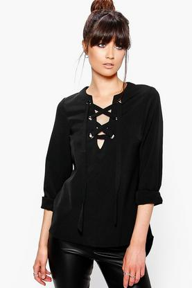 Amy Bold Lace Up Woven Blouse