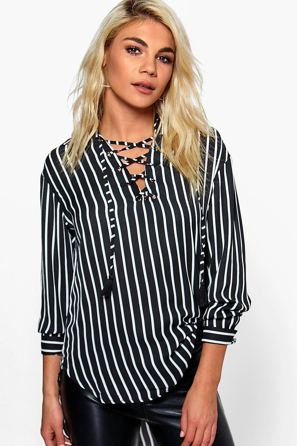 Brooke Tassel Lace Up Stripe Woven Blouse