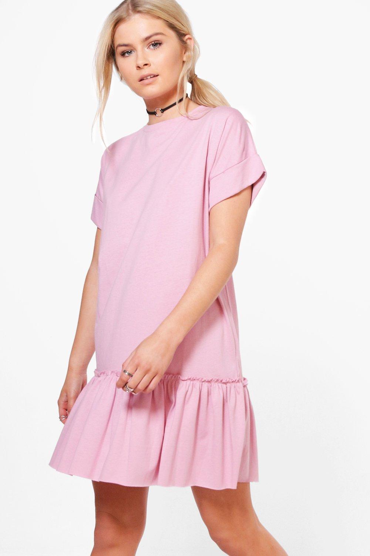 T-Shirt-Kleid mit Rüschensaum | Boohoo