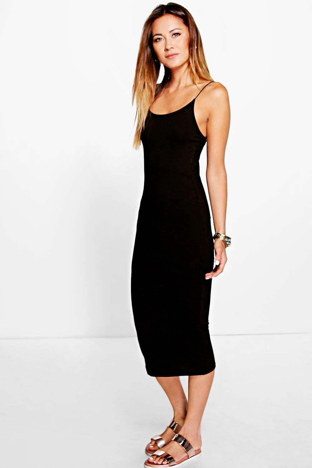 Basic Spaghetti Strap Midi Dress black
