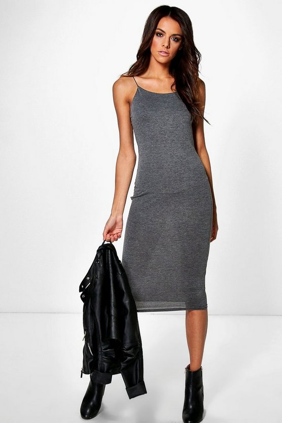 Helena Basic Spaghetti Strap Midi Dress