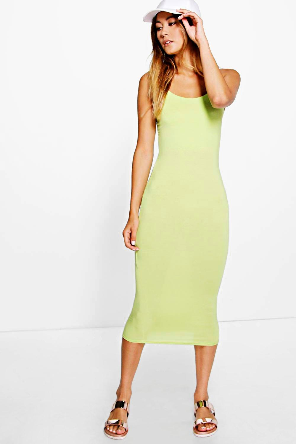 Basic Spaghetti Strap Midi Dress lime
