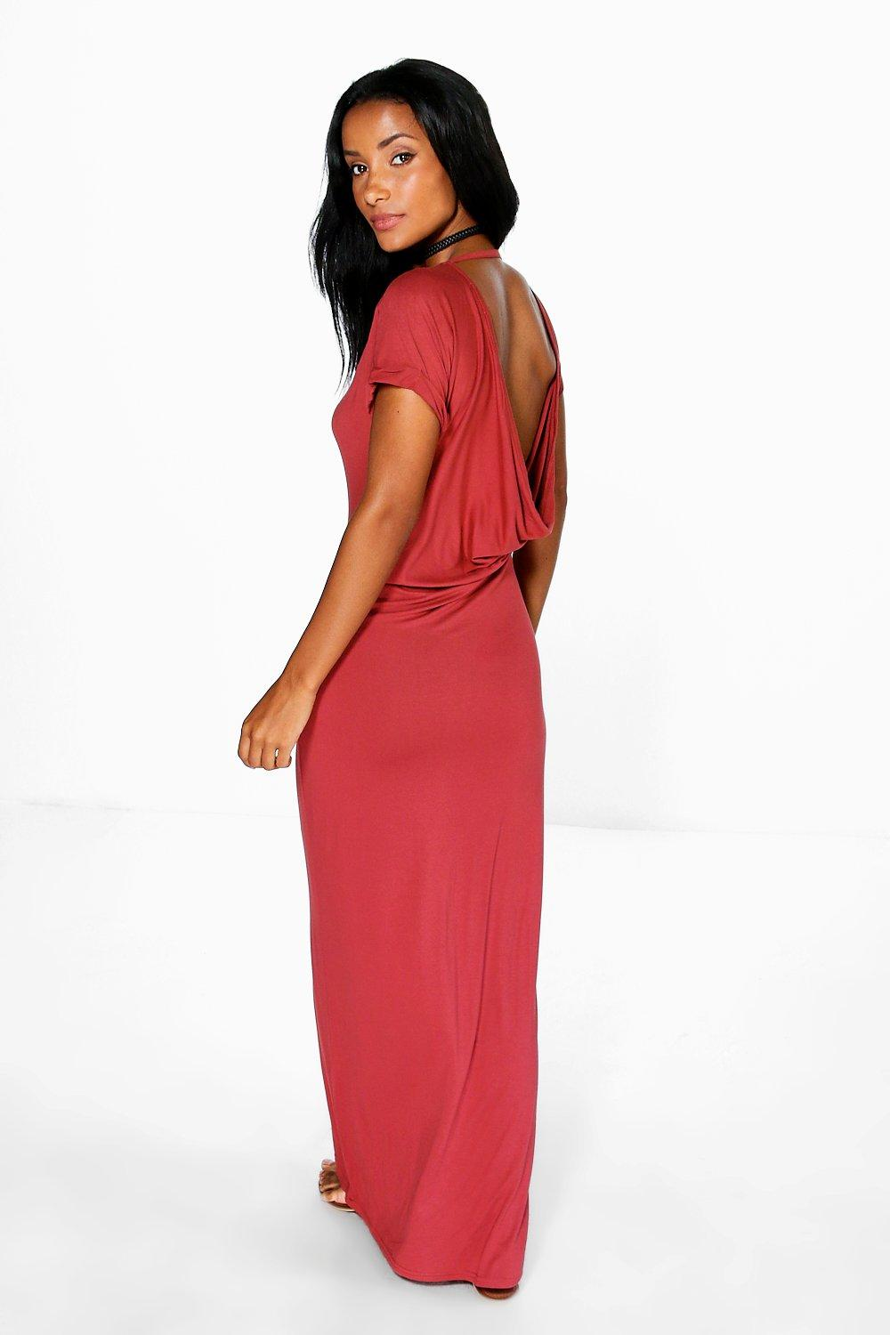 Tasha Drape Back Cap Sleeve Maxi Dress