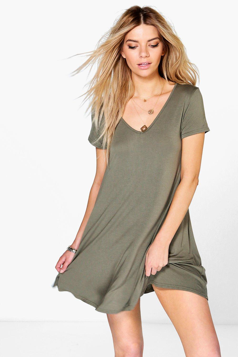 V Neck Cap Sleeve Swing Dress khaki