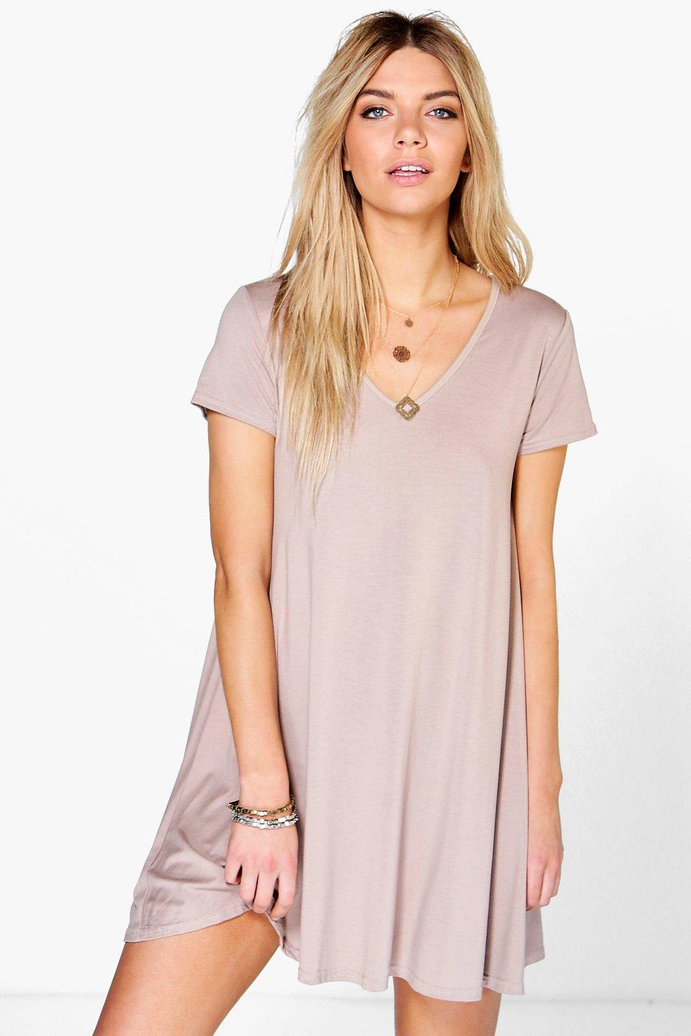 Selina V Neck Cap Sleeve Swing Dress