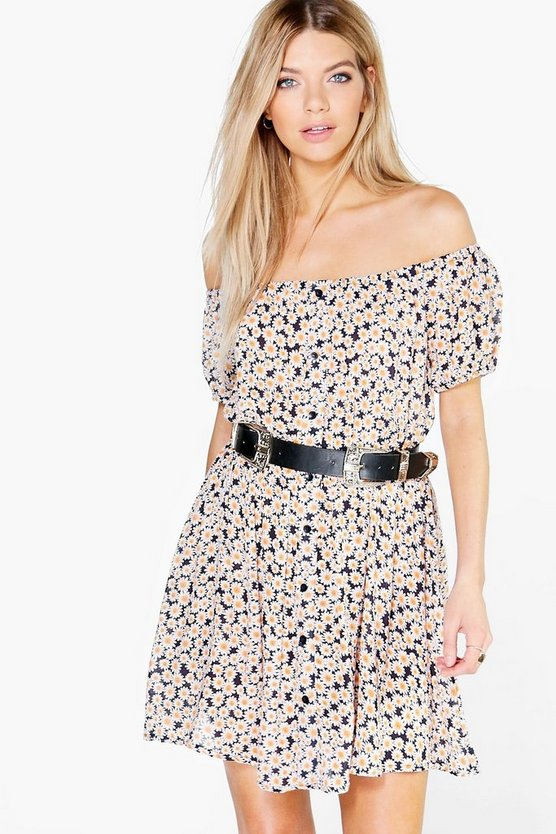 Bekki Daisy Print Button Through Swing Dress
