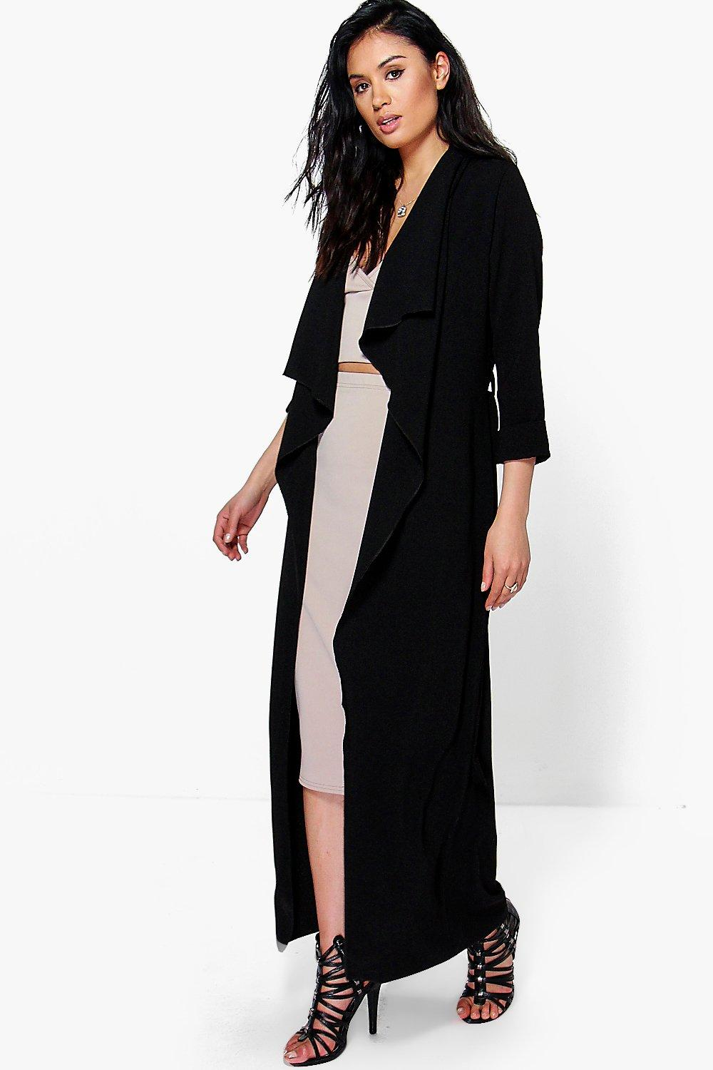 Tia Waterfall Woven Belted Duster