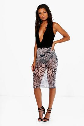 Gianna Abstract Mesh Overlay Midi Skirt