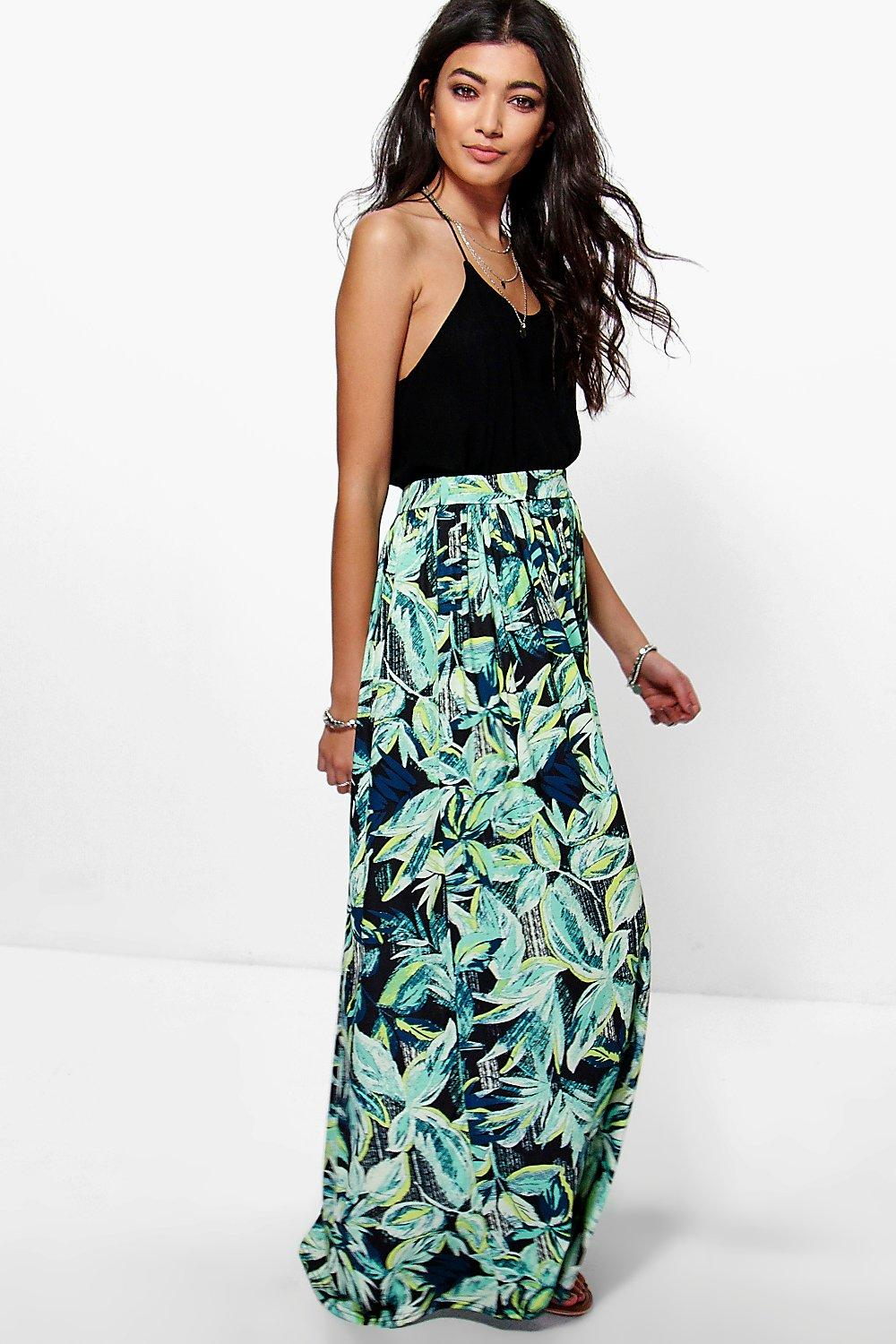 Lila Jersey Palm Print Floor Sweeping Maxi Skirt