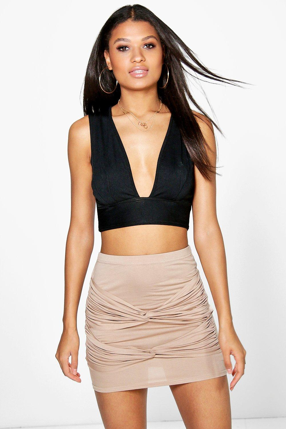 Inari Tie Front Rouched Mini Skirt
