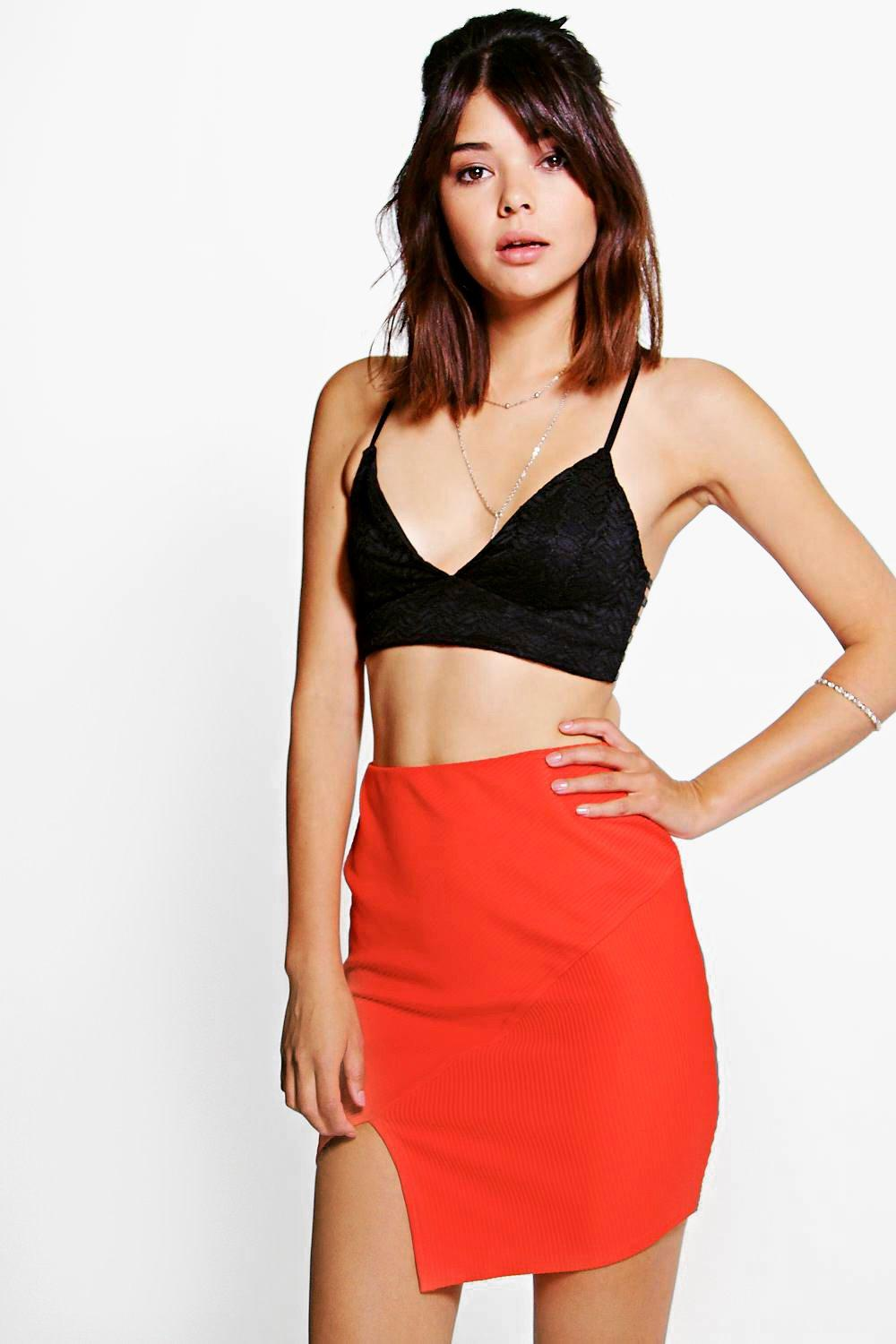 Imani Asymetric Rib Mini Skirt