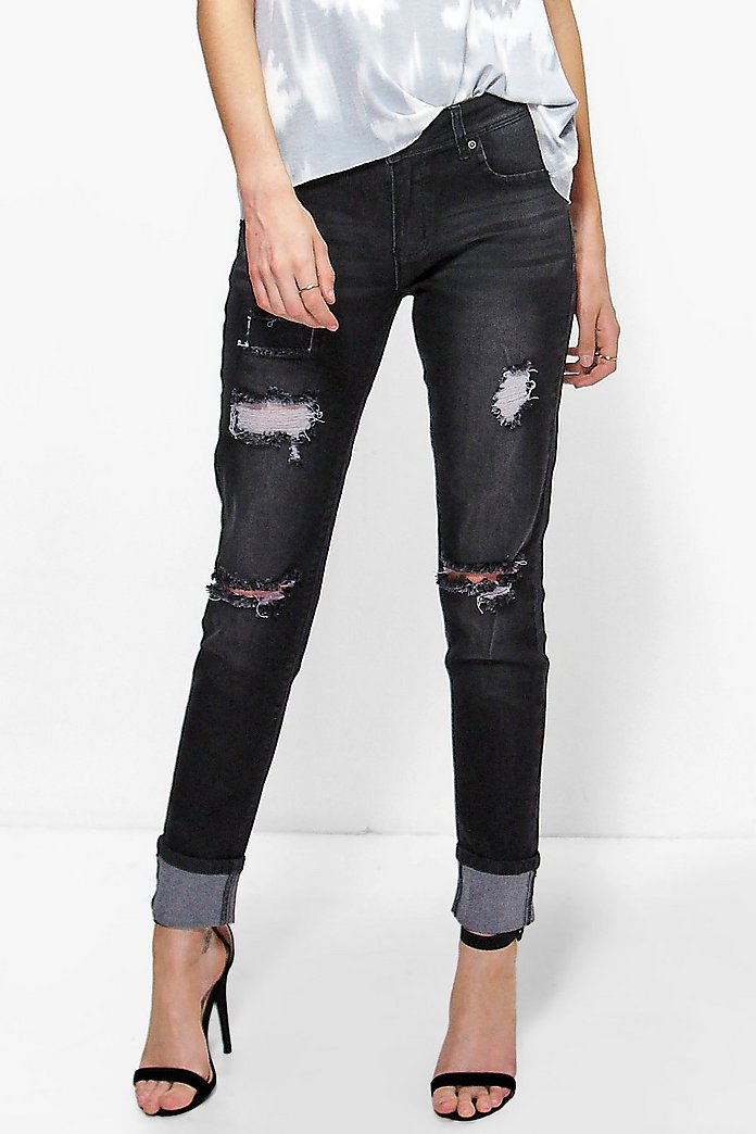 Hannah Mid Rise Lightly Ripped Skinny Jeans