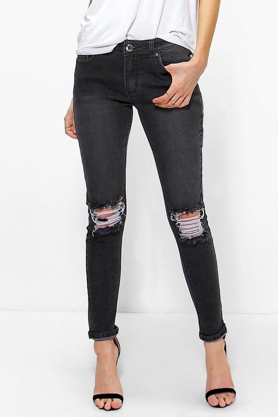 Hannah Mid Rise Skinny Jeans With Slit Knee