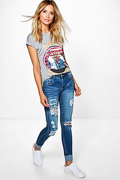 Hannah Mid Rise Light Ripped Skinny Jeans