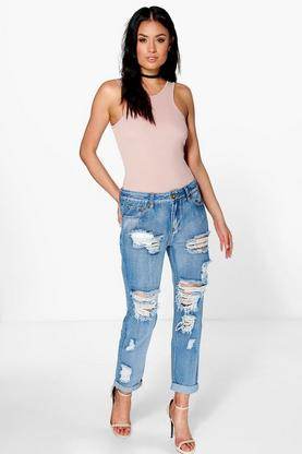 Lizzy Low Rise Distressed Boyfriend Jeans