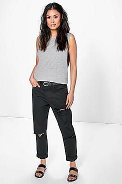 Hatty High Rise All Over Ripped Boyfriend Jeans plus size,  plus size fashion plus size appare