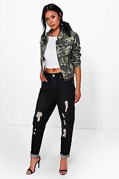 Hatty High Waisted Distressed Boyfriend Jeans plus size,  plus size fashion plus size appare