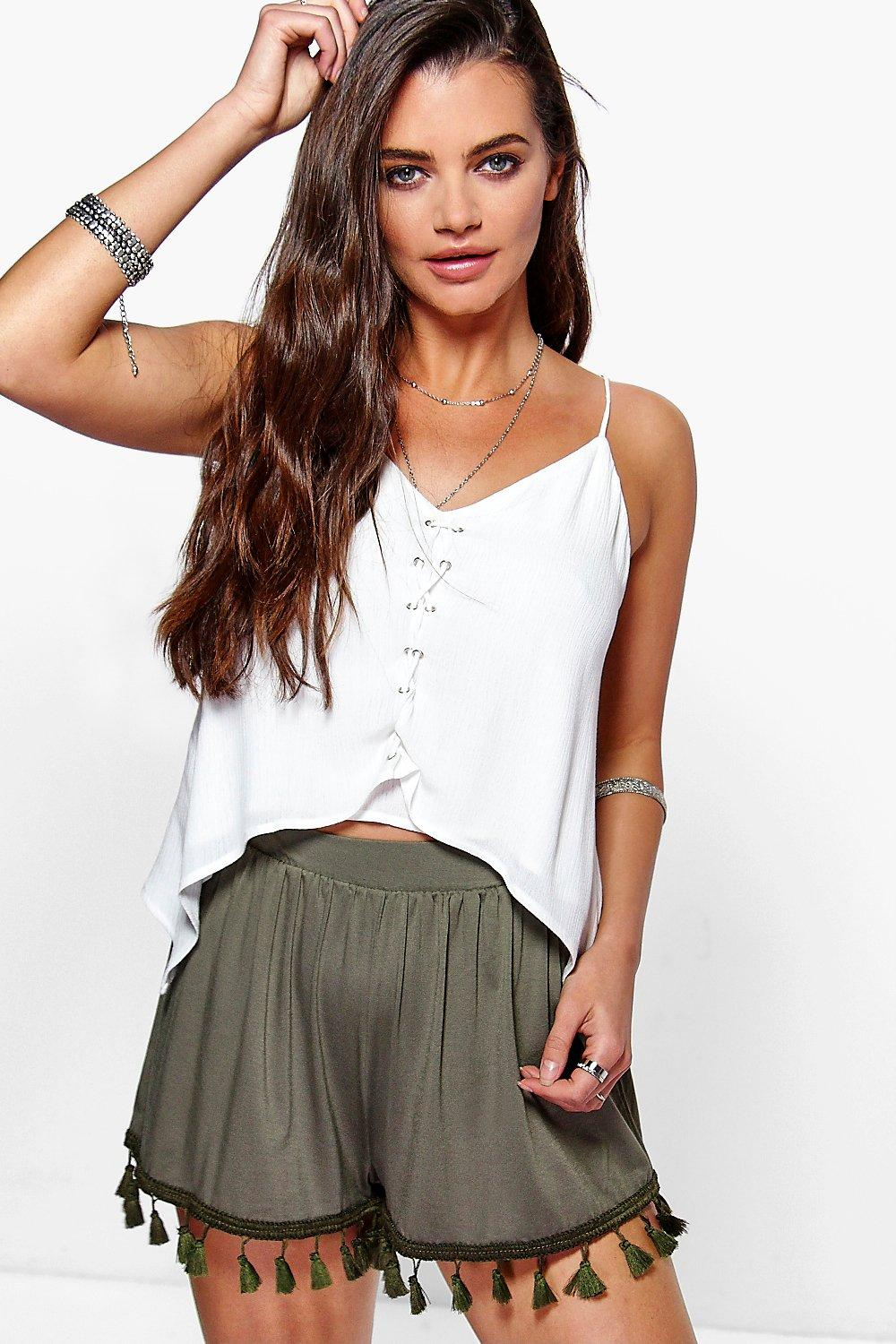 Lois Tassel Trim Flippy Shorts