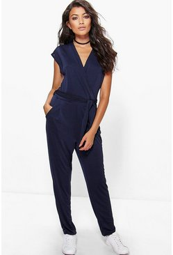 Zoe Wrap Front Self Belt Jumpsuit