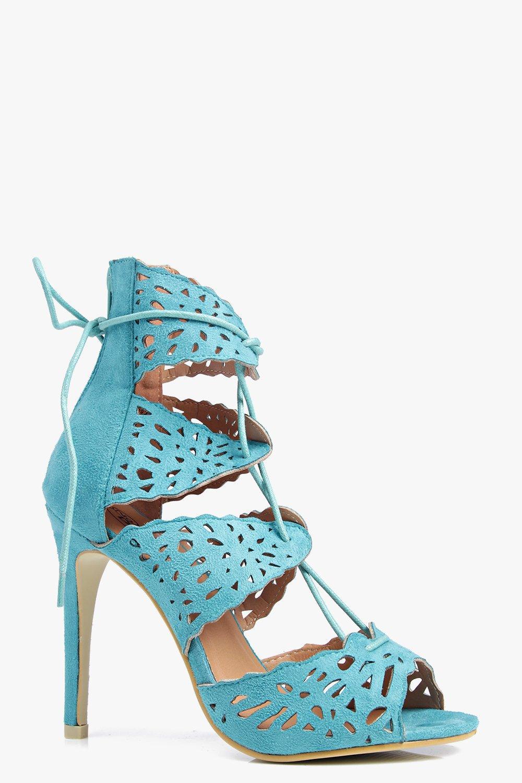 Lazer Cut Lace Up Heeled Sandal mint