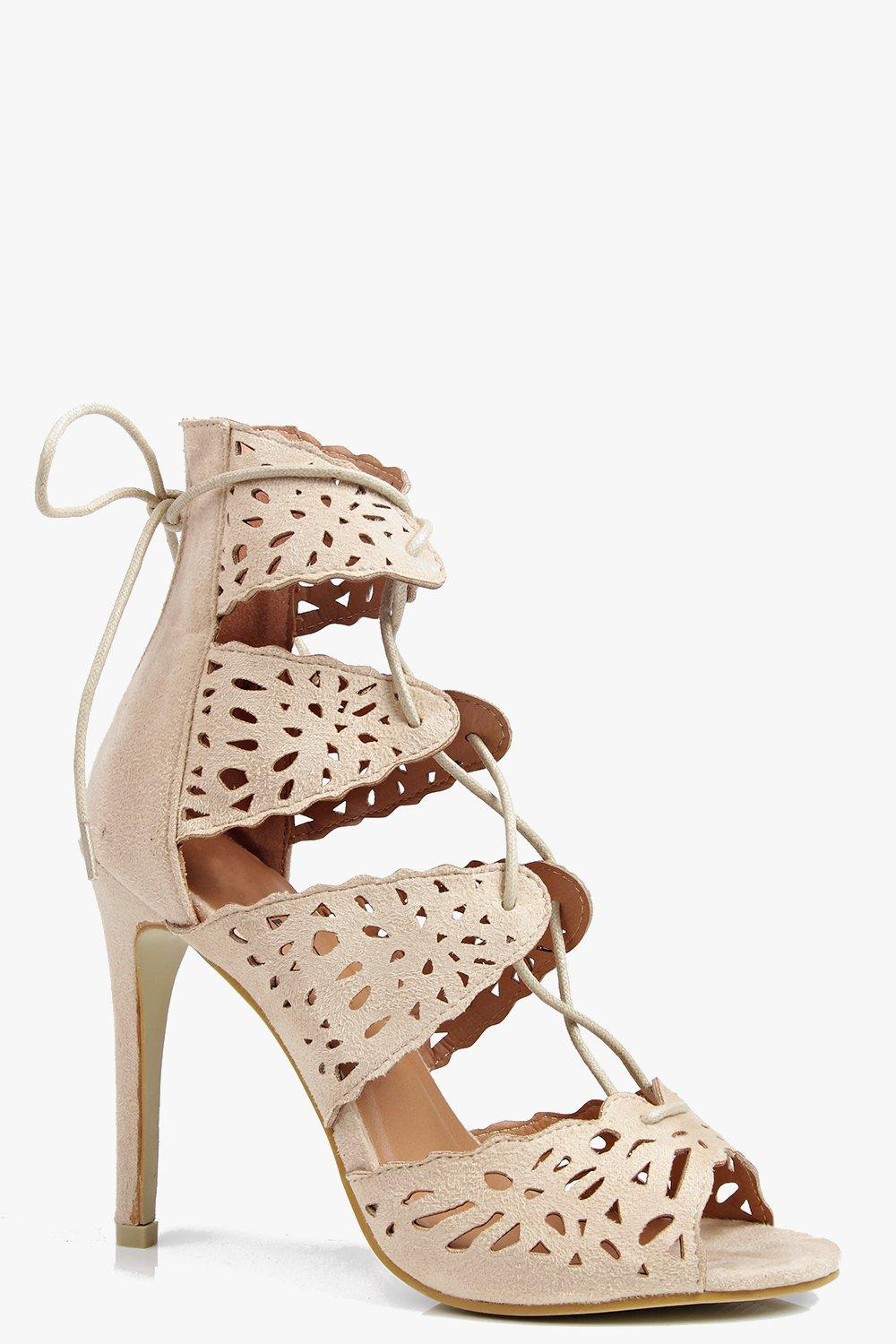 Orla Lazer Cut Lace Up Heeled Sandal