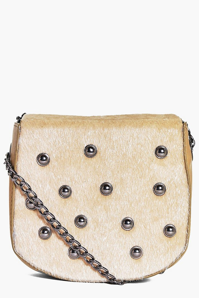 Keira Faux Pony Stud Chain Cross Body Bag
