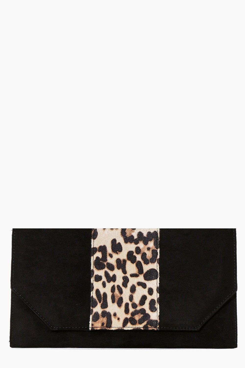 Ivy Faux Leopard And Suedette Clutch Bag
