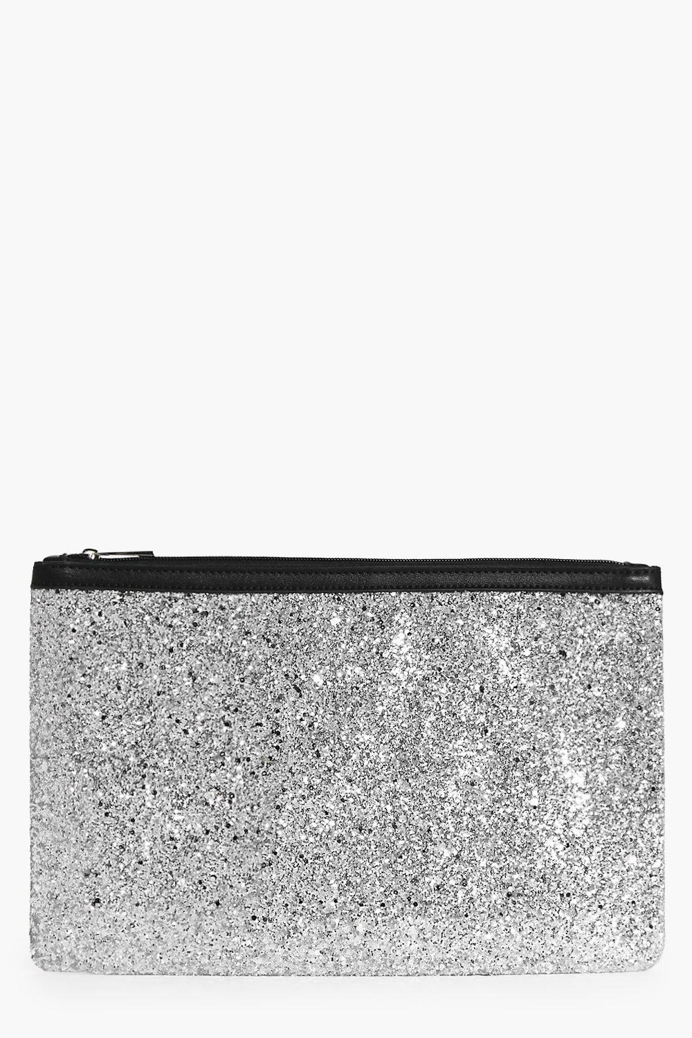 Orla Oversize Zip Top Glitter Clutch