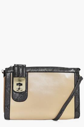 Millie Faux Snake Metal Lock Cross Body Bag