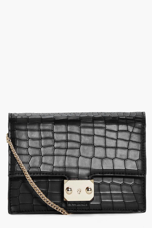 Mock Croc Box Cross Body Bag - black - Emma Mock C