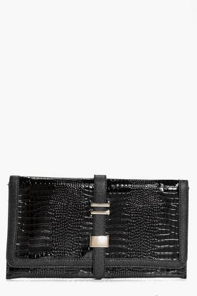 Evelyn Mock Croc Metal Detail Clutch Bag