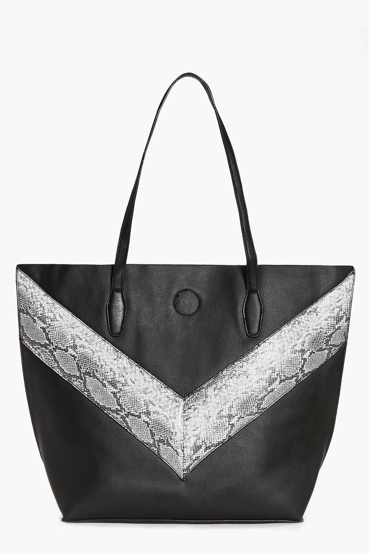 Oversized Faux Snake Panel Day Bag black