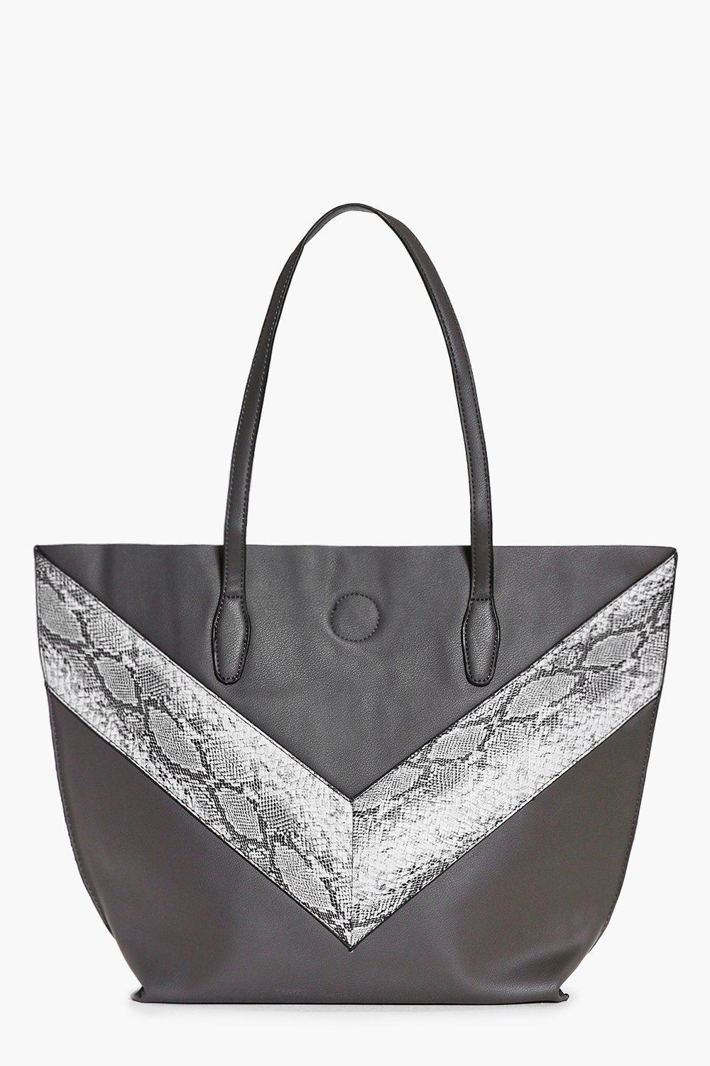 Oversized Faux Snake Panel Day Bag grey